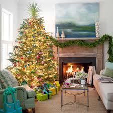 Bright Armchair Decorations Christmas Living Room Features Bright Christmas Tree