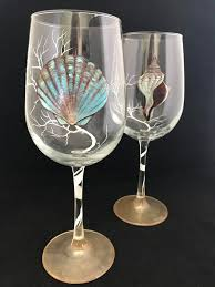 unique barware seashell painted wine glasses cottage barware nautical