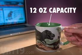 disappearing dinosaur mug add coffee to turn dinos into fossils