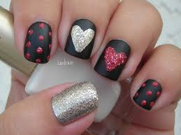 valentine u0027s day nail art sparkly hearts on black matte youtube