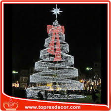 Lighted Christmas Tree Outdoor Decorations by H 20ft Outdoor Decoration Metal Led Lighted Ribbon Christmas Tree