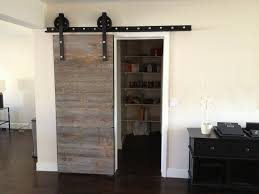 reclaimed wood divider grey distressed sliding barn door from reclaimed wood hanging on