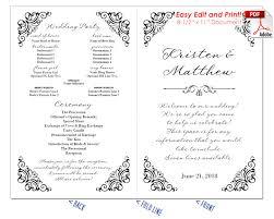 program fan template border scrolls 2 wedding program fan cool colors