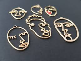 necklace charms wholesale images Set of 6 abstract face pendants gold tone charms wire face cubism jpg