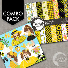 combo bumble bee clipart and digital papers little honeybee