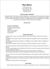 Resume Sle After School Program program director resume city espora co