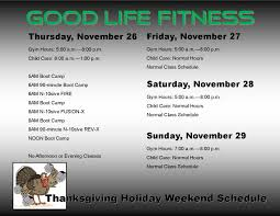 fitness thanksgiving schedule fitness center