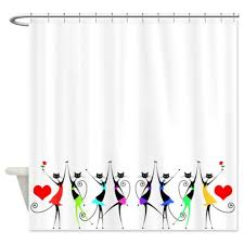 Whimsical Shower Curtains Colorful Whimsical Black Cats 1 Shower Curtain