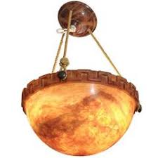 Hundi Light Fixture by Lare Hundi Bell Jar Fixture With Etched Greek Key Design For Sale