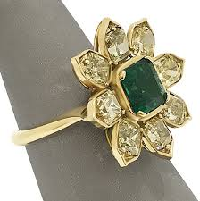 fine emerald rings images Emerald and fancy yellow diamond flower ring emerald rings jpg
