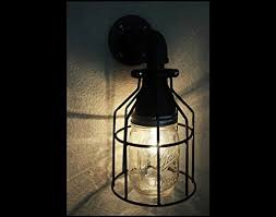 Outdoor Lighting Wall Sconce Industrial Wall Sconce Galvanized Pipe Lighting W Mason Jar For