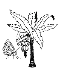 banana jungle plants coloring page with beautiful butterfly