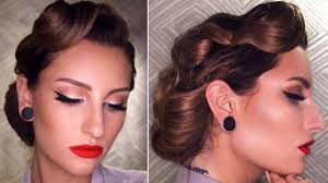 50 u0027s inspired vintage updo hairstyle tutorial youtube