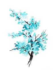 blue cherry blossom tree watercolor painting painting by joanna