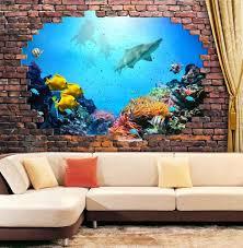 amazon com wall26 large wall mural under the deep ocean amazon com wall26 large wall mural under the deep ocean viewed through a broken brick wall 3d visual effect self adhesive vinyl wallpaper removable