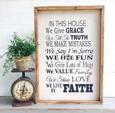 in this house we give grace large rustic sign home decor