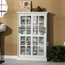 furniture white wooden bathroom cabinet with sliding glass door