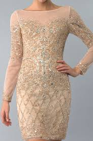 basix black label d6172a gold long sleeve sequined cocktail dress