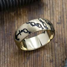ring for men 14k yellow gold anchor mens wedding ring point no point studio