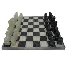 White Chess Set Vintage Modern Black And White Marble And Onyx Chess Set Circa