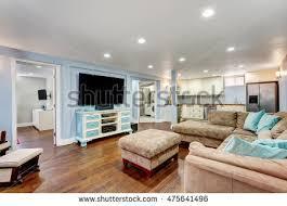 Blue And Beige Living Room Pastel Blue Walls Basement Living Room Stock Photo 475641646