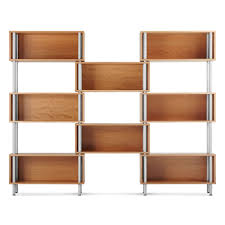 Cherry Wood Shelves by Intro Shelving Double Shelf Bookcase Blu Dot