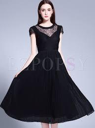 black skater dress lace stitching wrinkle high waist black skater dress ezpopsy