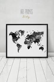 World Map Prints by World Map Watercolor Print Travel Map Large World Map