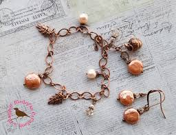 copper charm bracelet images Magpiemadness pumpkin everything rustic copper and cream pearl png