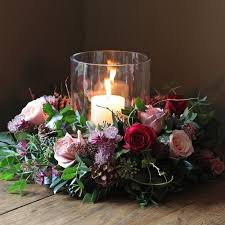 Christmas Hurricane Centerpiece - wedding flowers christmas crafts and ideas pinterest flower