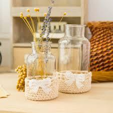free shipping new arrival zakka bow crochet cotton glass vase