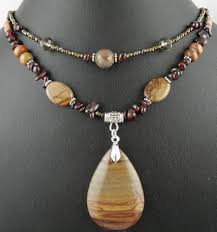 handmade necklace pendants images Natural creek jasper gemstone pendant garnet beads handmade jpg