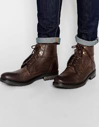 asos work boots in brown leather in brown for men lyst