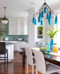amazing bright blue backsplash kitchen contemporary with mosaic