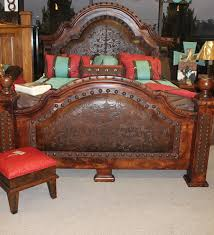 Western Leather Chair Mesquite Bed W Tooled Leather If I Had A Cabin Pinterest