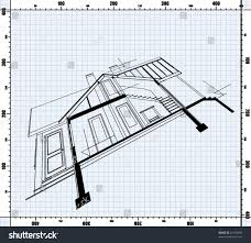 house blueprint perspective on flat background stock vector