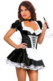 amazon com jj gogo women u0027s french maid costume black satin