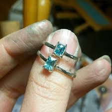 zircon rings images Cambodian blue zircon ring minimalist ring emerald cut liv jpg