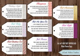bridal shower wine basket instant 1st milestone wine tags poems digital file