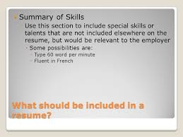 What Should Not Be Included On A Resume Creating A Resume Business Technology Applications Stanley Ppt