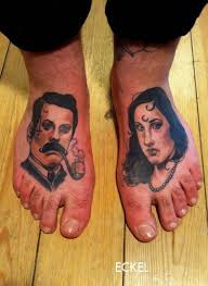 male foot tattoos colorful portraits of men and women tattoo on feet by eckel