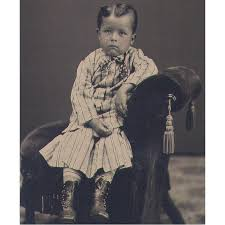 tintype little boy from lowell mass in victorian fancy dress from