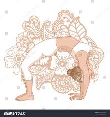 women silhouette upward bow wheel yoga stock vector 580740394