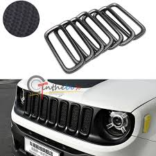 gray jeep renegade 7pc carbon fiber style front grille frame trim cover for 2015 2017