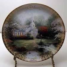 hometown chapel collector plate by kinkade