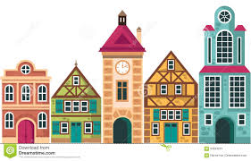 row of different houses houses cottage buildings vector cartoon