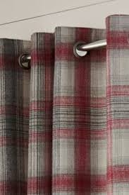 Pink Tartan Curtains Highland Check Cranberry Viscose Mix Curtain Fabric At