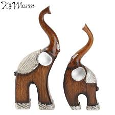 kiwarm 2pcs set polyresin elephant statue ornaments resin crafts