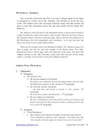 themes in the story the lottery paper analysis the lottery