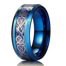 mens blue wedding bands 8mm unisex or men s wedding band blue resin inlay blue celtic